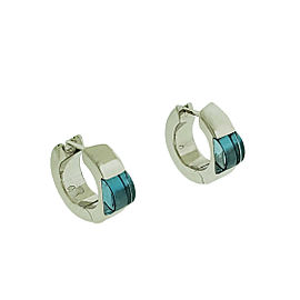 Gucci Blue Topaz Huggies Earrings In 18k White Gold
