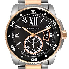 Cartier Calibre Diver Steel Rose Gold Black Dial Mens Watch W7100054