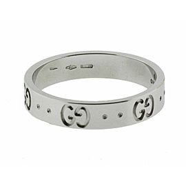 Gucci Icon Thin Band Ring In 18 Karat White Gold