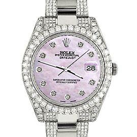 Rolex Datejust II 41mm Diamond Bezel/Lugs/Bracelet/Pink Pearl Diamond Dial Watch