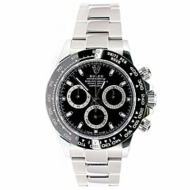 Rolex Daytona 40mm Steel Oyster Watch with Black Dial/Box/Papers 116500LN