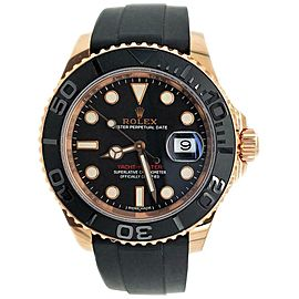 Rolex Yacht-Master 40mm Rose Gold Black Dial 116655 Watch Box Papers