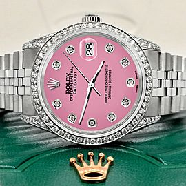 Rolex Datejust 36mm Steel Watch 2.85ct Diamond Bezel/Pave Case/Hot Pink Dial