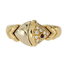 Bvlgari Diamond & Ruby 18K Two Tone Gold Fish Ring Size 5.75
