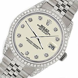 Rolex Datejust 36mm Steel Watch 2.85ct Diamond Bezel/Pave Case/Linen White Dial