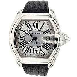 Cartier Roadster XL GMT 43mm Silver Roman Dial Steel Watch 2722 W62032X6