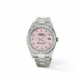 Rolex Datejust II 41mm 4.5CT Diamond Bezel/Lugs/Orchid Pink Dial