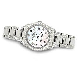 Rolex Datejust 36mm 5.9ct Diamond Bezel/Lugs/Bracelet/White Pearl Dial