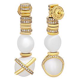 """FRED PARIS """"Baie Des Anges"""" 18k Y Gold Diamond & Pearl Earrings"""