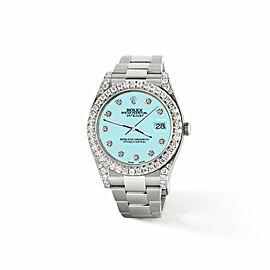Rolex Datejust II 41mm 4.5CT Diamond Bezel/Lugs/Aqua Blue Dial Watch