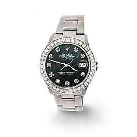 Rolex Datejust Midsize 31mm 1.52ct Bezel/Black MOP Dial Steel Oyster Watch
