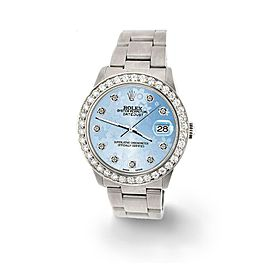 Rolex Datejust Midsize 31mm 1.52ct Bezel/Blue Flower Dial Steel Oyster Watch