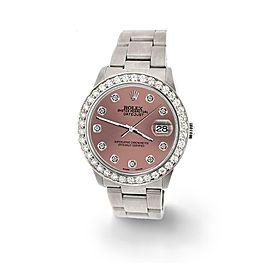 Rolex Datejust Midsize 31mm 1.52ct Bezel/Salmon Diamond Dial Steel Oyster Watch