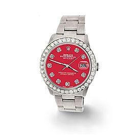 Rolex Datejust Midsize 31mm 1.52ct Bezel/Scarlet Red Dial Steel Oyster Watch