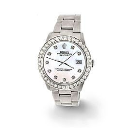 Rolex Datejust Midsize 31mm 1.52ct Bezel/White Pearl Dial Steel Oyster Watch