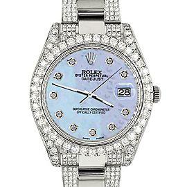 Rolex Datejust II 41mm 10.3CT Pave Diamond Bezel/Case/Bracelet/Purple MOP 116300