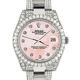 Rolex DatejustII 41mm 10.3CT Diamond Bezel/Case/Bracelet/Royal PinkMOP