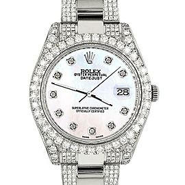 Rolex Datejust II 41mm 10.3CT Diamond Bezel/Case/Bracelet/White Pearl