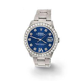 Rolex Datejust Midsize 31mm 1.52ct Bezel/Cobalt Blue Diamond Roman VI Dial Watch