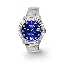 Rolex Datejust Midsize 31mm 1.52ct Bezel/Navy Blue Diamond Roman VI Dial Watch