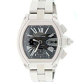 Cartier Roadster Chronograph XL 43mm Black Roman Dial Steel Watch W62020X6