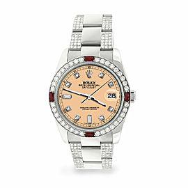 Rolex Datejust 36mm 4.5Ct Diamond Bezel/Bracelet/Mustard Dial 116200 Steel Watch