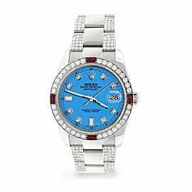 Rolex Datejust 36mm 4.5Ct Diamond Bezel/Bracelet/Blue Dial 116200 Steel Watch