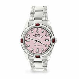 Rolex Datejust 36mm 4.5Ct Diamond Bezel/Bracelet/Orchid Pink Dial 116200 Watch