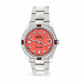 Rolex Datejust 36mm 4.5Ct Diamond Bezel/Bracelet/Matt Coral Dial 116200 Watch
