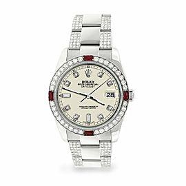 Rolex Datejust 36mm 4.5Ct Diamond Bezel/Bracelet/Linen White Dial 116200 Watch