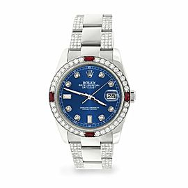 Rolex Datejust 36mm 4.5Ct Diamond Bezel/Bracelet/Cobalt Blue Dial 116200 Watch