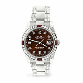 Rolex Datejust 36mm 4.5Ct Diamond Bezel/Bracelet/Chocolate Dial 116200 Watch