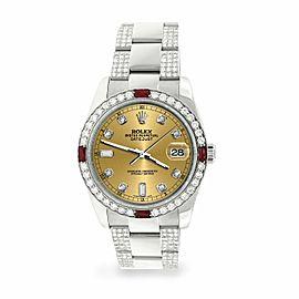 Rolex Datejust 36mm 4.5Ct Diamond Bezel/Bracelet/Champagne Dial 116200 Watch