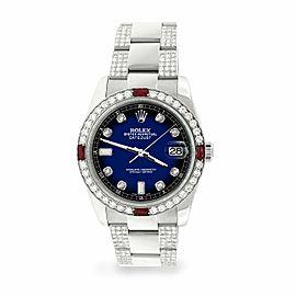 Rolex Datejust 36mm 4.5Ct Diamond Bezel/Bracelet/Blue Vignette Dial 116200 Watch