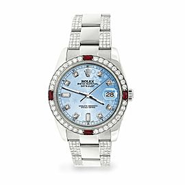 Rolex Datejust 36mm 4.5Ct Diamond Bezel/Bracelet/Blue Flower Dial 116200 Watch