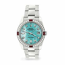 Rolex Datejust 36mm 4.5Ct Diamond Bezel/Bracelet/Aquamarine Blue MOP Dial Watch