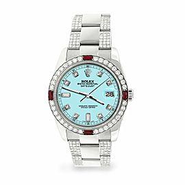 Rolex Datejust 36mm 4.5Ct Diamond Bezel/Bracelet/Aqua Blue Dial 116200 Watch