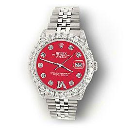 Rolex Datejust 31mm 2.95ct Diamond Bezel/Lugs/Scarlet Red Roman VI Dial Watch