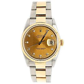 Rolex Datejust 36mm 2-Tone Factory Champagne Diamond Dial Watch Box Papers
