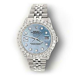 Rolex Datejust 31mm 2.95ct Diamond Bezel/Lugs/Sky Blue MOP Roman IX Star Watch