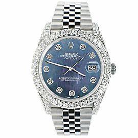 Rolex Datejust 41mm 5.9CT Bezel/Lugs/Sides/Black Pearl Dial 126300