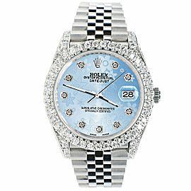 Rolex Datejust 41mm 5.9CT Bezel/Lugs/Sides/Blue Flower Dial 126300