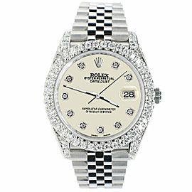 Rolex Datejust 41mm 5.9CT Bezel/Lugs/Sides/Linen White Dial 126300