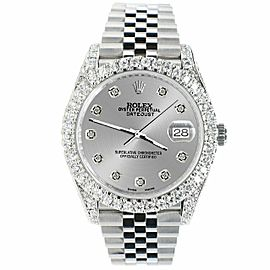 Rolex Datejust 41mm 5.9CT Bezel/Lugs/Sides/Silver Dial 126300 Watch Box Papers