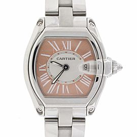 Cartier Roadster Coral Dial Limited Edition Steel Ladies Watch W62054V3 2675