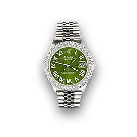Rolex Datejust 36mm 4.6ct Dome Diamond Bezel/Royal Green Roman Dial Steel Watch