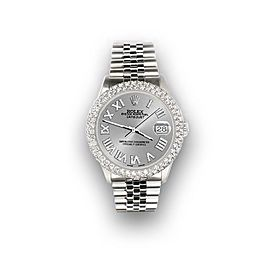 Rolex Datejust 36mm 4.6ct Dome Diamond Bezel/Silver Roman Dial Steel Watch