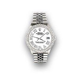 Rolex Datejust 36mm 4.6ct Dome Diamond Bezel/White Roman Dial Steel Watch