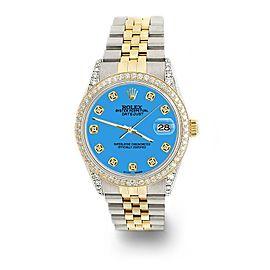 Rolex Datejust 2-Tone 36mm 1.4ct Diamond Bezel/Lugs/Blue Dial Jubilee Watch
