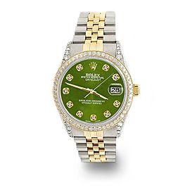 Rolex Datejust 2-Tone 36mm 1.4ct Diamond Bezel/Lugs/Royal Green Dial Watch